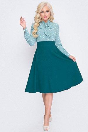 Платье Комбинированное платье.Верх текстильное блузочное полотно,низ костюмная ткань.В боковом шве молния Состав: верх 30% вискоза,65% п/э, 5% лайкра        юбка 50% вискоза, 45% п/э, 5% лайкр