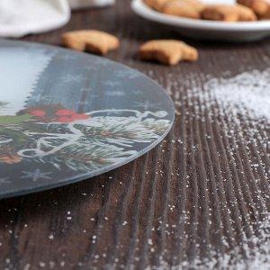Подставка для торта вращающаяся «Снегири», d=30 см