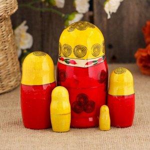 Матрёшка «Семёновская», желтый платок, 5 кукольная, 10 см