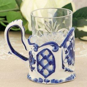 Набор «Цветочный» подстаканник со стаканом, гжель