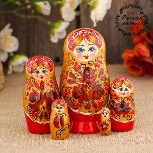 Матрёшка «Цветы», золотой платок, 5 кукольная, 10 см