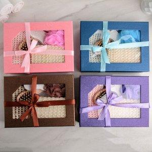 """Набор банный """"Подарочный"""", 5 предметов: 3 мочалки, расчёска, пемза, цвет МИКС"""