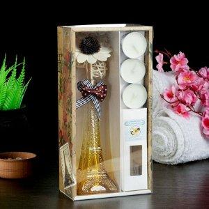 "Набор подарочный ""Эйфелева башня""(ваза,палочки с декором,свечи, аромамасло), ваниль"