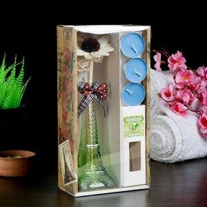 """Набор подарочный """"Эйфелева башня""""(ваза,палочки с декором,свечи, аромамасло), чай"""