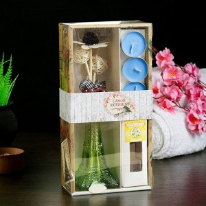 "Набор подарочный ""Эйфелева башня""(ваза,палочки с декором,свечи,аромамасло),жасмин, 8 марта"