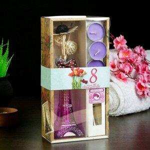 """Набор подарочный """"Эйфелева башня""""(ваза,палочки с декором,свечи,аромамасло),орхидея, 8 марта"""