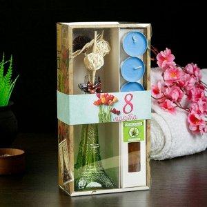 "Набор подарочный ""Эйфелева башня""(ваза,палочки с декором,свечи,аромамасло),сандал, 8 марта"