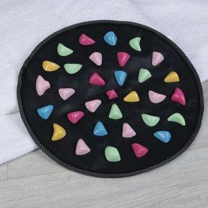 Массажный коврик, d = 34 см, цвет чёрный/разноцветный