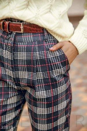 Клетчатые брюки с высокой посадкой