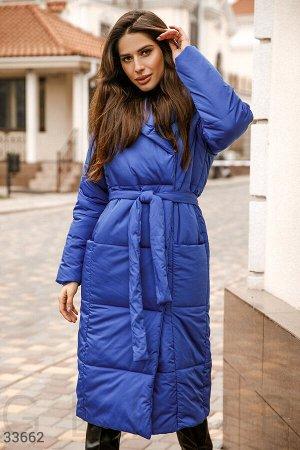 Удлиненная куртка синего цвета