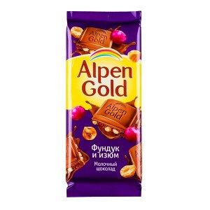 Шоколад Альпен Гольд Фундук Изюм 85 г 1 уп.х 21 шт.