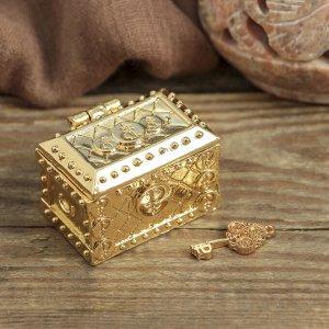 Денежный сундук с золотым ключиком , 3,5 х 2,7 см
