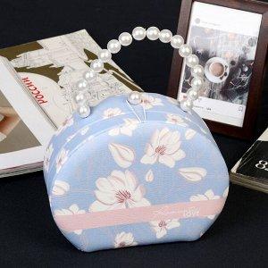 "Шкатулка кожзам для украшений сумочка ""Белый жасмин"" 15х18,5х7 см"