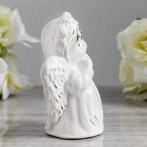 """Статуэтка """"Ангел девочка"""". глянец. белый. золото. 12 см"""