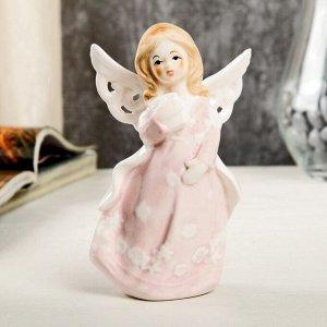 """Сувенир керамика """"Ангел-девочка в розовом платье с накидкой, с книгой в руке"""" 12,4х6х7,7 см"""