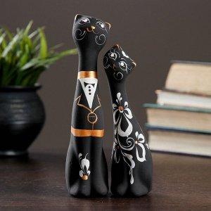 """Фигура """"Love Коты"""" малые набор 2шт черные 4?5?17,5см 040"""