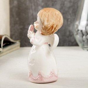 """Сувенир керамика """"Ангел-малыш в платье с розовыми оборками, с голубем"""" 10,6х5,6х6,4 см"""