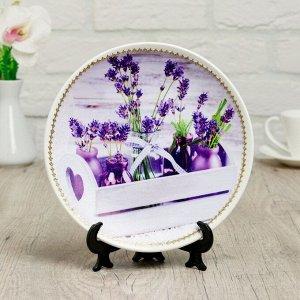 Тарелка декоративная «Букетики лаванды», с рисунком на холсте, D = 19,5 см