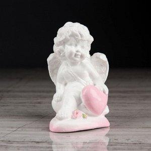 """Статуэтка """"Ангел на сердечке"""", с розовой отделкой, 10 см"""