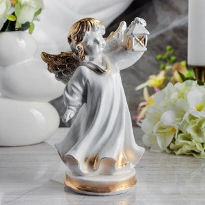 "Статуэтка ""Ангел с фонарём"" 24 см, белая"