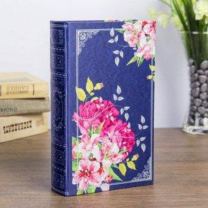 "Сейф дерево книга шёлк ""Цветы на синем фоне"" 21х13х5 см"