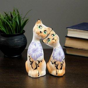 """Фигура """"Love Коты"""" ушастые 7?13?17см бел/золото (набор 2 шт) 215"""
