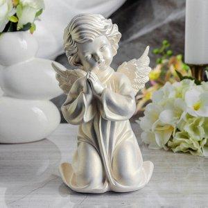 """Статуэтка """"Ангел молящийся в платье"""" перламутровая, 25 см"""