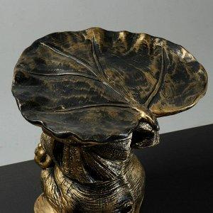 "Фигура - подставка ""Слон с листком"" бронза-золото 30х30х30см"