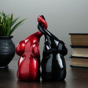 """Фигура """"Пара слонов"""" черный + бордовый глянец 7х12х16см"""