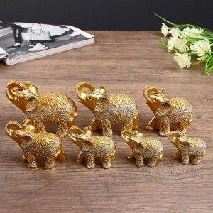 """Сувенир полистоун """"Золотые слоны - корни деревьев"""" н-р 7 шт h=9;8,5;7,7;6,5;6,2;5,4;4,2 см"""