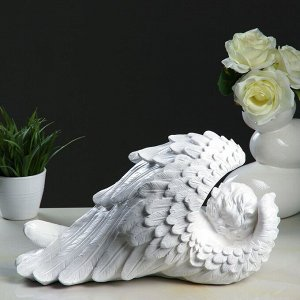 "Фигура ""Ангел в крыле большой"" 19х40х23см. белый"