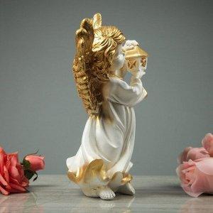 """Статуэтка """"Ангел с фонарём"""", бело-золотая, 31 см"""