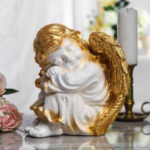 """Сувенир """"Спящий ангел"""" белый с золотом, 26 см"""