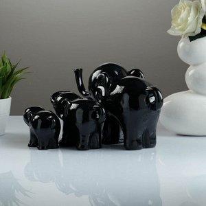 """Фигура """"Семья слонов"""" набор черный 57х15х9см"""