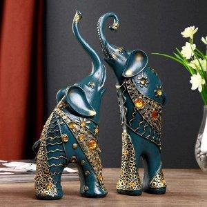 """Сувенир полистоун """"Синие слоны с оранжевыми стразами"""" набор 2 шт 28,5х21х8,3 см"""