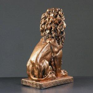 """Фигура """"Лев сидя с шаром"""" бронза 29х18х45см"""