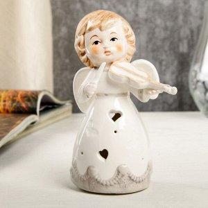 """Сувенир керамика свет """"Ангел-малыш в платье с серыми оборками, со скрипкой"""" 13х6,7х7,7 см"""