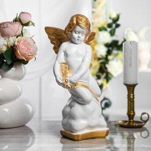 """Статуэтка """"Ангел"""" 37 см, бело-золотая"""