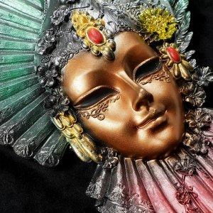 "Венецианская маска ""Рубин"" 32см МИКС золото"