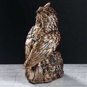 """Статуэтка """"Сова с совятами в гнезде"""" цвет бронзовый, 25 см"""
