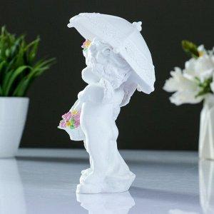 """Фигура """"Ангелочки под зонтом"""" белый 9х11х15см"""