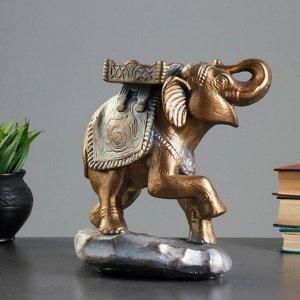 """Фигура """"Слон стоя"""" бронза/серебро 14х25х25см"""