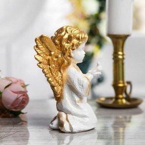 """Сувенир """"Ангел с птицей"""" белый с золотым, 17 см"""