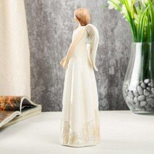 """Сувенир керамика """"Девушка-ангел в платье с розами"""" 19,5х7х7 см"""