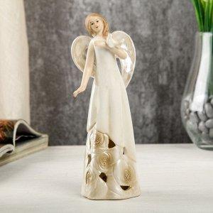 """Сувенир керамика световой """"Девушка-ангел в платье с розами, с голубем в руке"""" 16,5х5,8х6 см"""