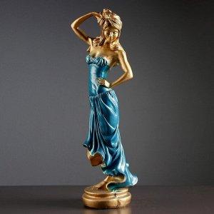"""Фигура """"Девушка с розой"""" бронза синее платье 15?20?55 см,"""