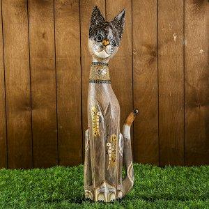 """Сувенир дерево """"Кошка с бабочками и зеркальным сердцем"""" 60х12х6 см"""