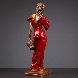 """Фигура """"Девушка с корзиной"""" бронза/красный 14х14х55см"""