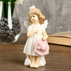"""Сувенир керамика """"Девочка-ангел в белом платье с розовой шляпкой"""" 14,3х6,3х6,5 см"""