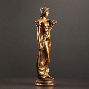 """Фигура """"Девушка с букетом"""" бронза 20х16х55см"""